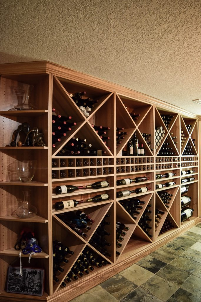 built in wine shelving